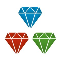 diamond with shades of blue, red and green