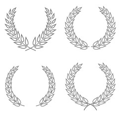 Set of four laurel wreaths vectors of different shapes isolated