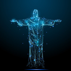 Abstract image of the statue of Christ in the form of a starry sky or space, consisting of points, lines, and shapes in the form of planets, stars and the universe. Vector low poly wireframe RGB Color