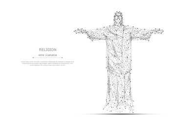 Abstract mash line and point the statue of Christ origami on white background with an inscription. Starry sky or space, consisting of stars and the universe. Vector religion illustration