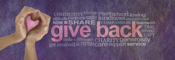 Give Back with Love Word Cloud - campaign banner with female hands making a heart shape with pink behind on left and a GIVE BACK word cloud  on right against a rustic parchment background
