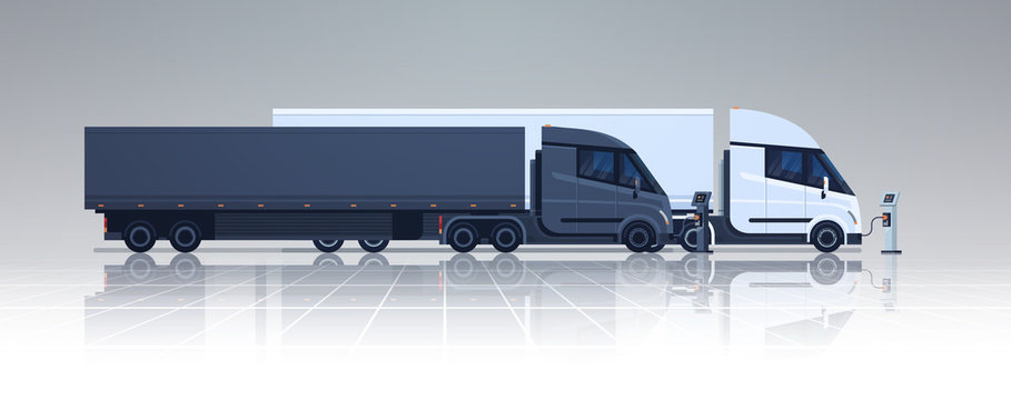 Big Lorry Semi Truck Trailers Charging At Electic Charger Station Banner Horizontal Vector Illustration