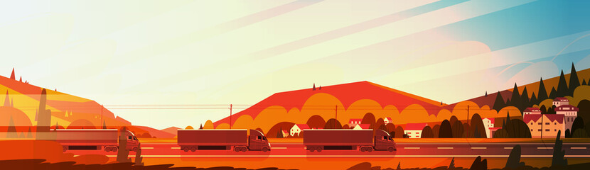 Big Semi Truck Trailers Driving Road Over Mountains Landscape At Sunset Horizontal Banner Vector Illustration