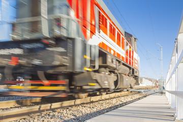 Diesel Locomotive on Tracks