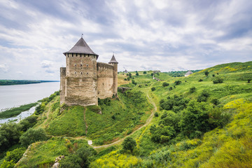 Foto auf Leinwand Befestigung Aerial view of Khotyn Fortress over Dniester River in Ukraine