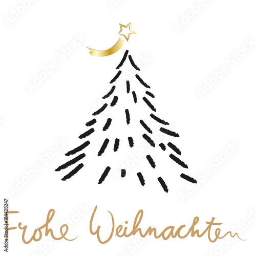 Stern Auf Weihnachtsbaum.Frohe Weihnachten Tannenbaum Mit Stern Weihnachtsbaum Und