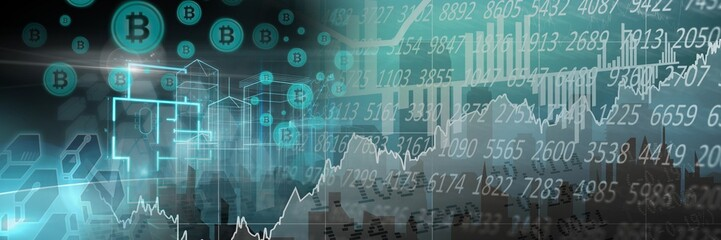 bitcoin graphic icons and financial market economic charts
