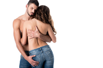 68ae14127a9e back view of sensual half naked couple hugging isolated on white
