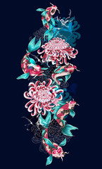 Print with koi fish and flowers. For embroidery or print.