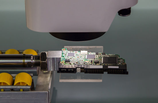 CNC Accuracy Measuring System. Industrial electronics manufacturing