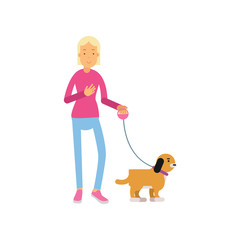 Blonde teen girl walking with her dog colorful cartoon vector Illustration