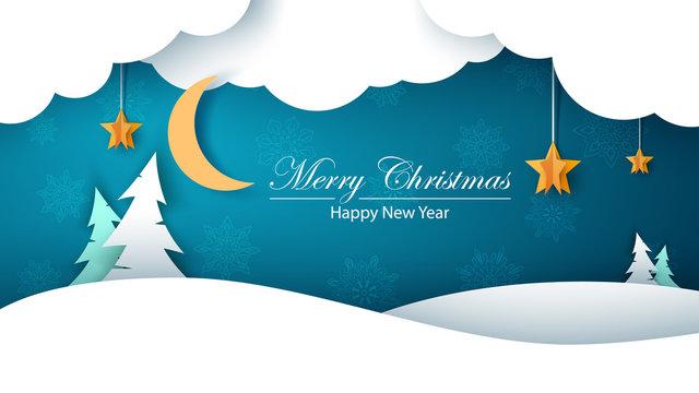 Winter cartoon paper landscape. Fir, moon, cloud, star, snow. Merry christmass. Happy new year.