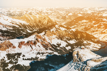 Panoramic view of the Alps mountains, image taken in Glacier 3000, Canton of Vaud, Switzerland