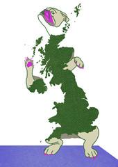 British bulldog - drawing with map