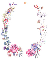 Floral greeting wreath with roses
