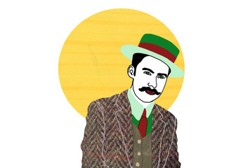 Fashion dandy with hat and tweed jacket