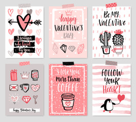 Wall Mural - Valentine`s Day card set - hand drawn style with calligraphy.