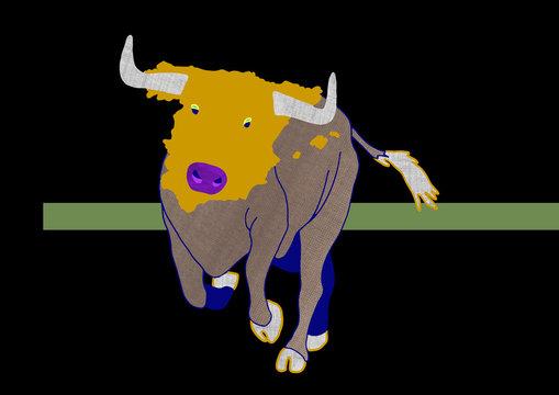 Spanish Bull - animal with map