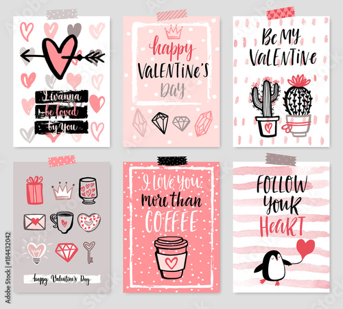 Canvas Prints Valentine`s Day card set - hand drawn style with calligraphy.