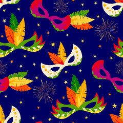 Seamless vector pattern with colorful  carnival masks