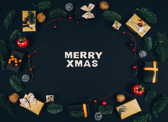 Christmas new year black stylish background and frame with gifts.