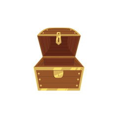 Open empty wooden pirate treasure chest, front view, flat style cartoon vector illustration isolated on white background. Flat style treasure chest, new and empty, nothing inside