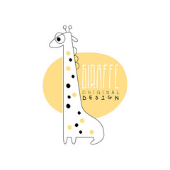 Giraffe logo template original design, animal label easy editable for Your design hand drawn vector Illustration