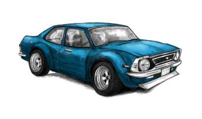 Nice old school car. Beautifully drawn by hand graphic illustration with a blue racing vehicle. Pencil sketch.