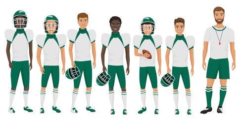 School basketball team guys standing with their coach trainer. Cartoon flat vector illustration.