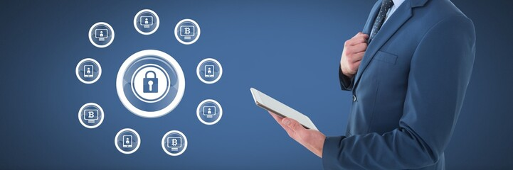 businessman holding tablet and security lock icon with device