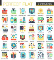 E-commerce and digital development vector complex flat icon concept symbols for web infographic design.