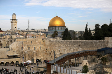 General view of Jerusalem's Old City shows the Western Wall, Judaism's holiest prayer site, in the foreground as the Dome of the Rock, located on the compound known to Muslims as Noble Sanctuary and to Jews as Temple Mount, is seen in the background