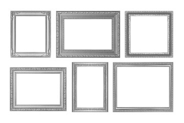 The antique silver frame on the white background
