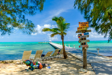 Grand Cayman, Cayman Islands, Rum Point Beach with view on the Caribbean Sea and a jetty