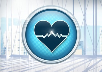 Heart pulse icon in city office