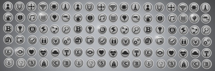 Various app icons in city