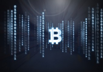 Bitcoin icon and binary code lines