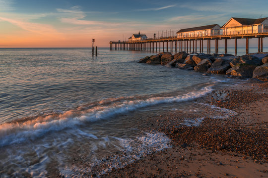 SOUTHWOLD, SUFFOLK/UK - MAY 24 : Sunrise over Southwold Pier in Suffolk on May 24, 2017