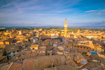 Downtown Siena skyline in Italy