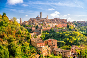 Wall Murals European Famous Place Downtown Siena skyline in Italy