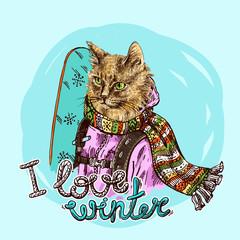 Hand drawn vector print I love winter.