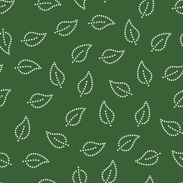 Doted simple leaves seamless pattern in green and white, vector