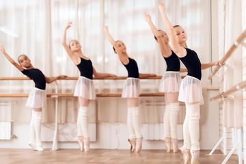 Young ballerinas rehearsing in the ballet class.