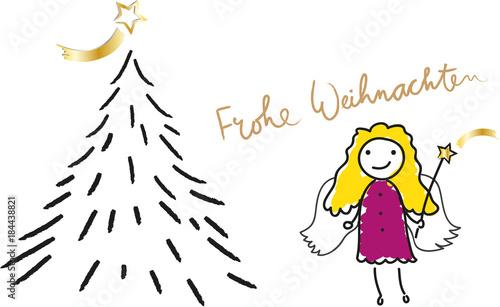Tannenbaum Singen.Frohe Weihnachten Christkind Und Kirche Tannenbaum