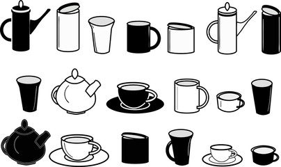 Tea and coffee objects set - sketchy icons - cups, mugs, coffee pots, teapots, jars, saucers