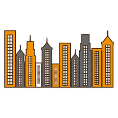 cityscape buildings isolated icon vector illustration design