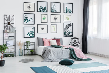 Spacious bright botanic bedroom