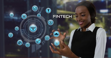 Businesswoman with hands palm open and Fintech with various
