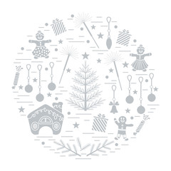 Vector illustration of different new year and christmas symbols.