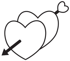 Two hearts crossed with an arrow shot by cupid. Concept for love, passion, valentine, Valentines day isolated on white background. Black outline.
